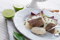 Beef with beetroot and horseradish sauce Royalty Free Stock Photo