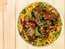 Beef and Black Bean Sauce With Red Peppers Stock Photo
