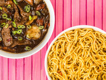 Beef and Black Bean Sauce With Red Peppers And Egg Noodles Royalty Free Stock Images