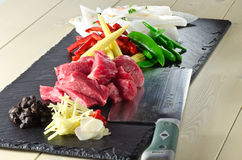 Beef in black bean stir fry ingredients Stock Photo