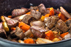 Beef bourguignon closeup. Beef bourguignon stew closeup in cast iron dutch owen Stock Photo