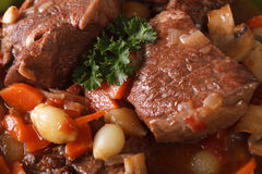 Beef Bourguignon macro background. horizontal top view Stock Images