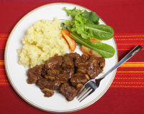 Beef Bourguignon meal from above Royalty Free Stock Images
