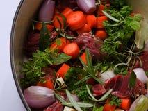 Beef bourguignon - preparation Stock Images