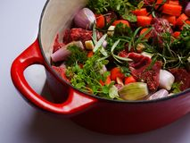 Beef bourguignon - preparation Royalty Free Stock Images