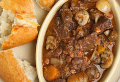 Beef Bourguignon Stew with Bread Royalty Free Stock Image