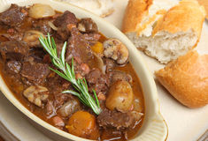 Beef Bourguignon Stew with Bread Royalty Free Stock Images