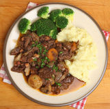 Beef Bourguignon Stew Dinner from Above Stock Images