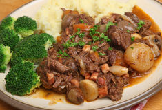 Beef Bourguignon Stew Dinner Royalty Free Stock Photography