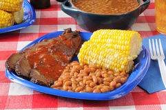 Beef brisket with Boston baked beans Stock Images