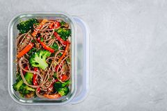 Free Beef Broccoli Noodles Stir Fry Meal Prep Lunch Box Container Stock Photo - 140903740