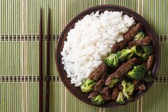Beef with broccoli and rice close-up. horizontal top view Stock Photo