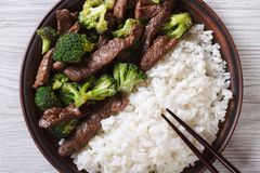 Beef with broccoli and rice close-up. horizontal top view Royalty Free Stock Image
