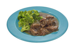 Beef Broccoli on Turquoise Plate Royalty Free Stock Images