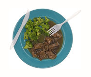 Beef Broccoli Turquoise Plate Silverware Royalty Free Stock Photography