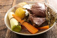 Beef, broth and vegetable royalty free stock image