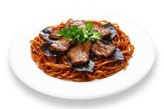 Beef brown noodles restaurant dish Stock Image