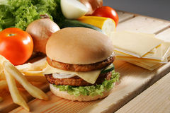 Beef Burger. With ingredients background Stock Images