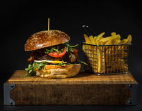 Beef Burger. American Beef Burger with chips royalty free stock photos