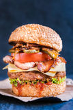 Beef burger and bacon Royalty Free Stock Photo