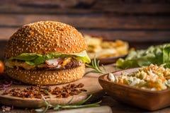 Beef burger in bun Royalty Free Stock Photo