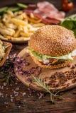 Beef burger in bun Stock Photo