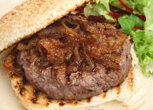 Beef Burger with Caramelised Onions Royalty Free Stock Photo