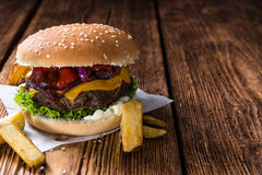 Beef Burger with Cheese and Chips Stock Image