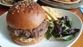 Beef Burger, Chips & Salad Royalty Free Stock Photos