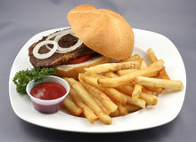 Beef burger combo Stock Photography