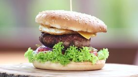 Beef burger with egg. Food close up stock footage