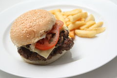 Beef burger with fries. In a plate royalty free stock photography