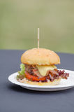 Beef burger with herb butter Royalty Free Stock Photo