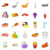 Beef burger icons set, cartoon style Royalty Free Stock Photos
