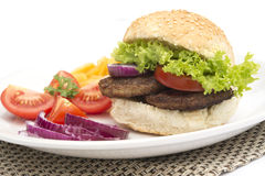 Beef burger meal Stock Images