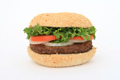 Beef burger over white Stock Photo