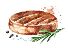 Beef Burger Patty, rosemary, salt and pepper. Watercolor hand drawn illustration, isolated on white background vector illustration