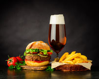 Beef Burger Sandwich with Beer Royalty Free Stock Photography