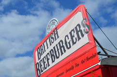 Beef burger sign in retro style. Stock Photo