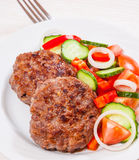Beef burger with vegetables salad Royalty Free Stock Image