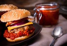 Beef burgers and ajvar salad Stock Photo