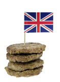 Beef Burgers. With Union Jack Flag Royalty Free Stock Photos