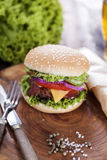 Beef burgers on a wooden board with chips and aromatic spices. Stock Photos