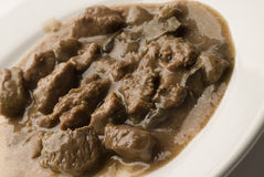 Beef burgundy. Angus beef burgundy cubes with gravy Royalty Free Stock Photo
