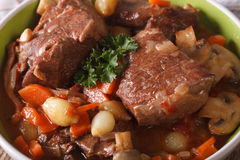Beef Burgundy macro to the bowl. horizontal Stock Photo