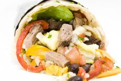 Beef burrito rice and beans Mexican food. Comida mexicana,  Mexican cuisine, beaf burrito rice and beams with peper, burrito de carne con arroz y frijoles, beef Royalty Free Stock Images