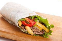Beef Burrito With Peppers, Fried Potato And Tomato Royalty Free Stock Photo