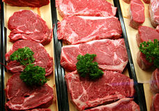 Beef in a butcher shop Royalty Free Stock Image