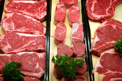 Beef in a butcher shop Royalty Free Stock Images