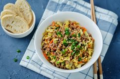 Beef and cabbage stir fry. Toning. selective focus royalty free stock photos